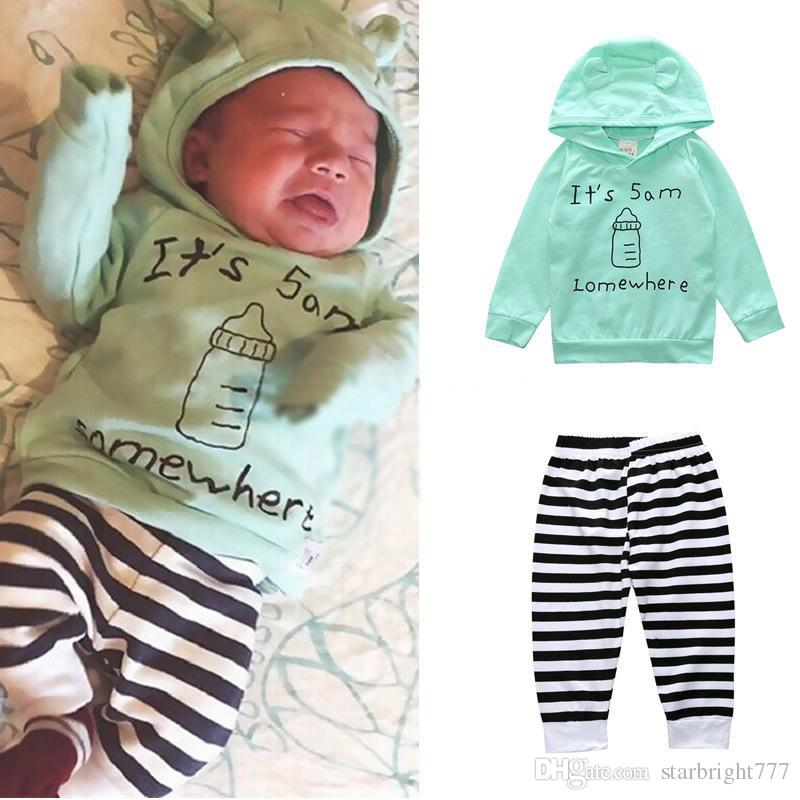 Baby milk bottle Print outfits INS Toddler Letter Hooded Sweat Shirt+pants 2pcs/set fashion Boutique kids Clothing Sets