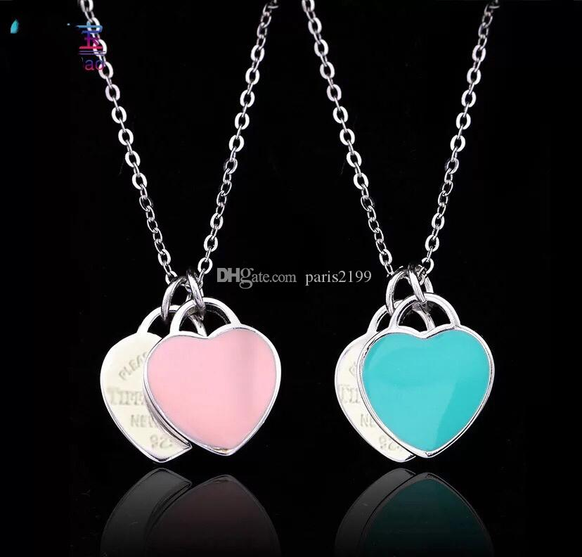2018 fashion woman Stainless Steel Double Heart Pendant Necklace Please return to New York 925 Letters necklace jewelry