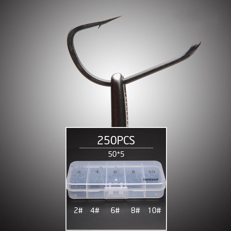 250pcs / Lot TFSH-B # 2 # 4 # 6 # 8 # 10 ganci spinato set TEFLON acciaio ad alto tenore di carbonio rivestito gancio pesca alla carpa w / scatola scatola gancio gancio libero