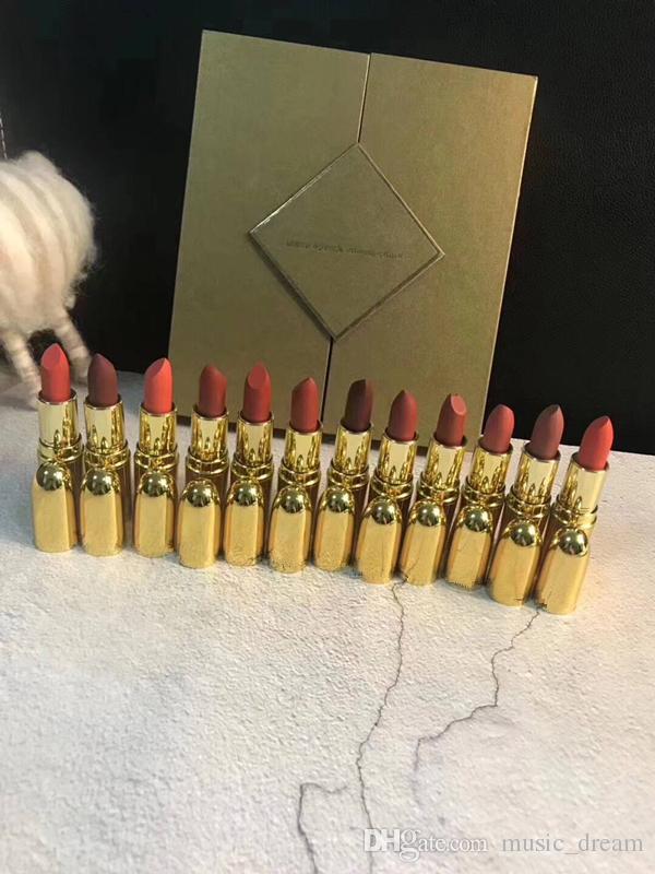 Hot Brand cosmetics 12 colors Matte lasting lipsticks set 12pcs/set gold box High quality Gift Box DHL shipping