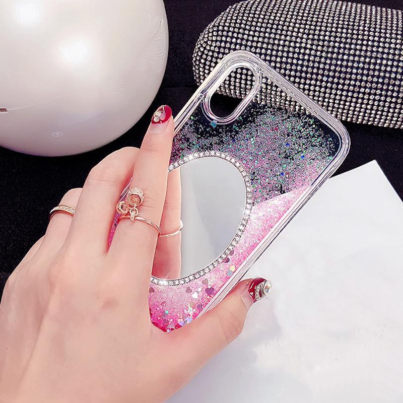 Fancy Rhinestone mirror heart liquid quicksand phone case For Xiaomi Redmi 6 8 note 4 4X 4A 5A note5A pro