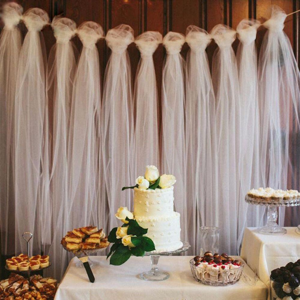 100 Yardas Tulle Boda Telón de fondo Decoración de la boda 15 cm Tulle Roll Ceremonia al aire libre Fotografía Fiesta de cumpleaños Decoración