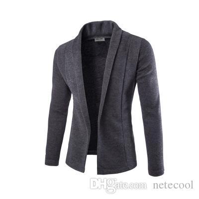 Сжатый V-образным вырезом свитер пальто кардиган свитер мужчин Мужской Сплошной цвет Тонкий Мужские свитера кардигана пальто Человек Кардиган для мужчин свободного падения корабля