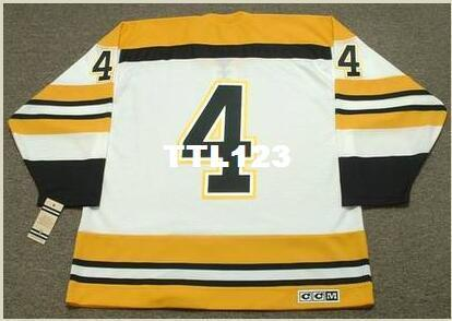 Maillot de hockey CCM Vintage Home 1972 pour hommes # 4 BOBBY ORR Boston Bruins