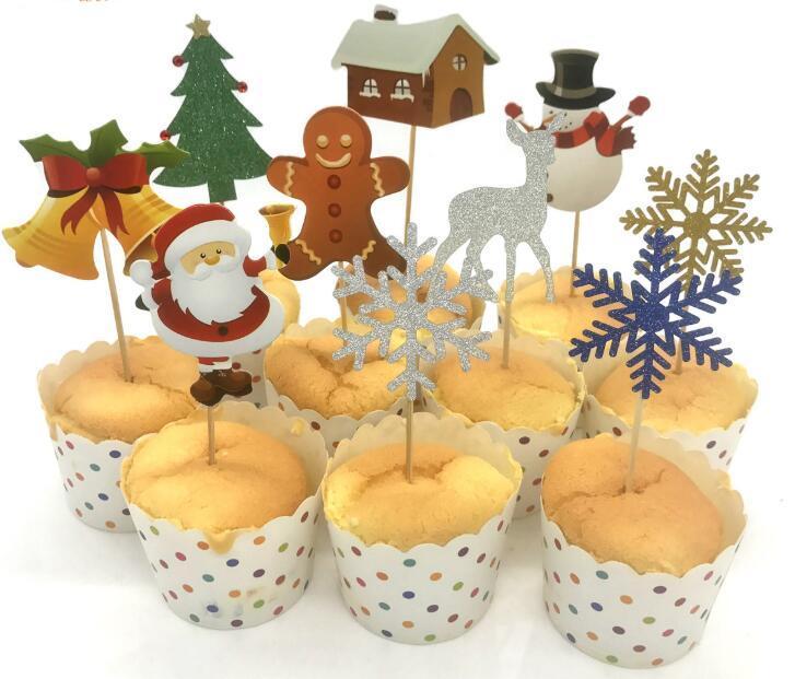 Natale Cupcake Topper Tema di Natale Babbo Natale Alce Cupcake Topper Picks Decorazioni per feste di Natale Per Bambini Event Party Supplies Fa