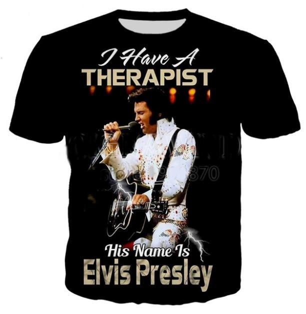 Sommerstil Neueste Rap Elvis Mode Lässig Aaron Presley Beliebte lustige 3D-Drucken Abcq00180 T-Shirt Herren / Frauen SWJGP