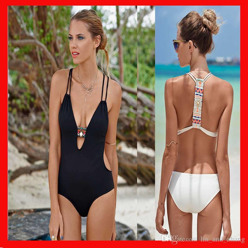 비키니 수영복 원피스 섹시한 여성의 비치 수영복 V 목 여성 수영복 화이트 블랙 컬러