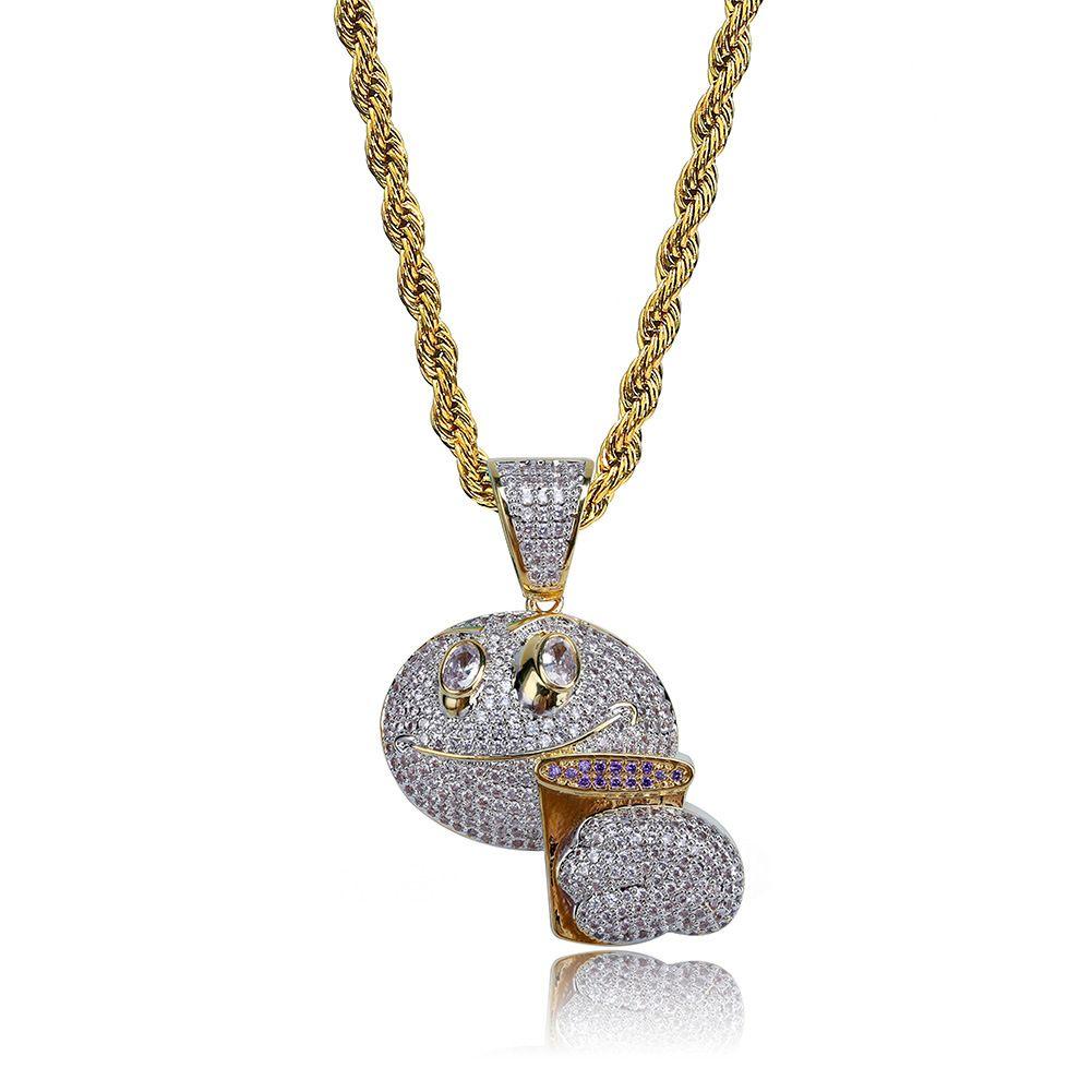 Emoji Face Holding Purple Cup Oro Argento placcato Iced Out Collana con ciondolo Charm Chain Men Jewelry Gift