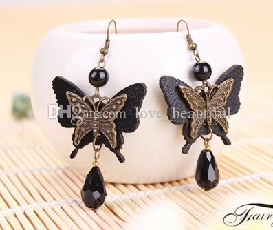 Hot Style Nouvelle mode papillon noir volant cristal vintage boutique boucles d'oreilles personnalité boucles d'oreilles classique élégance exquise