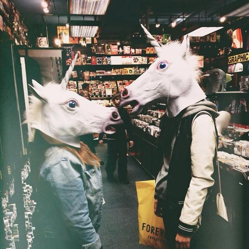Unicorn Horse Head Mask Rubber Latex Panto Creepy Fancy Dress Costume Halloween