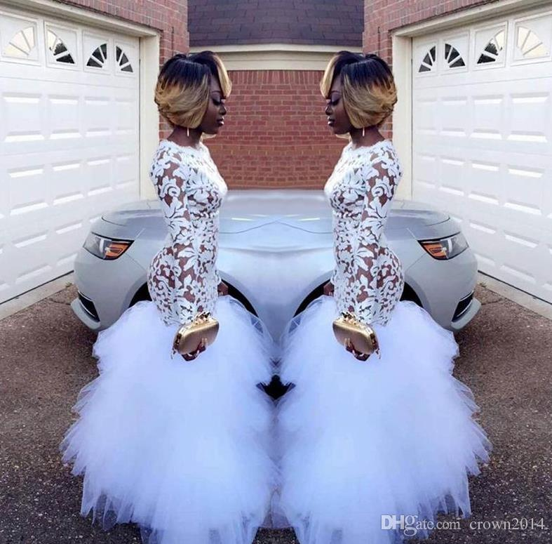 2019 White Lace Mermaid Prom Dresses for Black Girls Long Sleeves Ruffles Tulle Floor Length Plus Size Evening Prom Gowns Vestidos