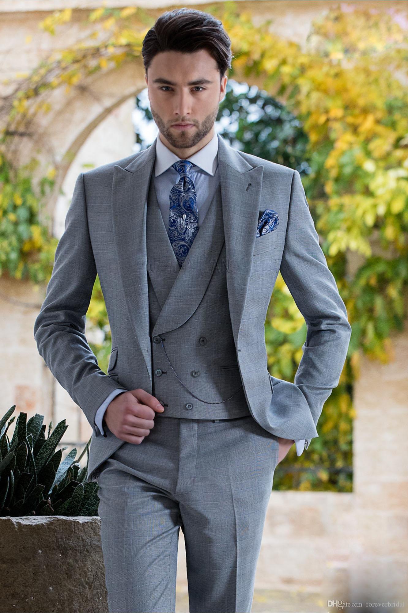 2019 formal estilo italiano homens ternos de casamento de prata de três peças (jaqueta + calça + colete) um botão smoking moda masculina jaqueta conjunto de roupas