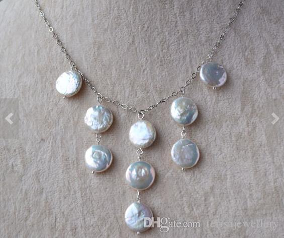 Nueva Arriver joyería de perlas naturales, collar de perlas de monedas de color blanco, joyería de la perla del banquete de boda, nuevo envío gratuito