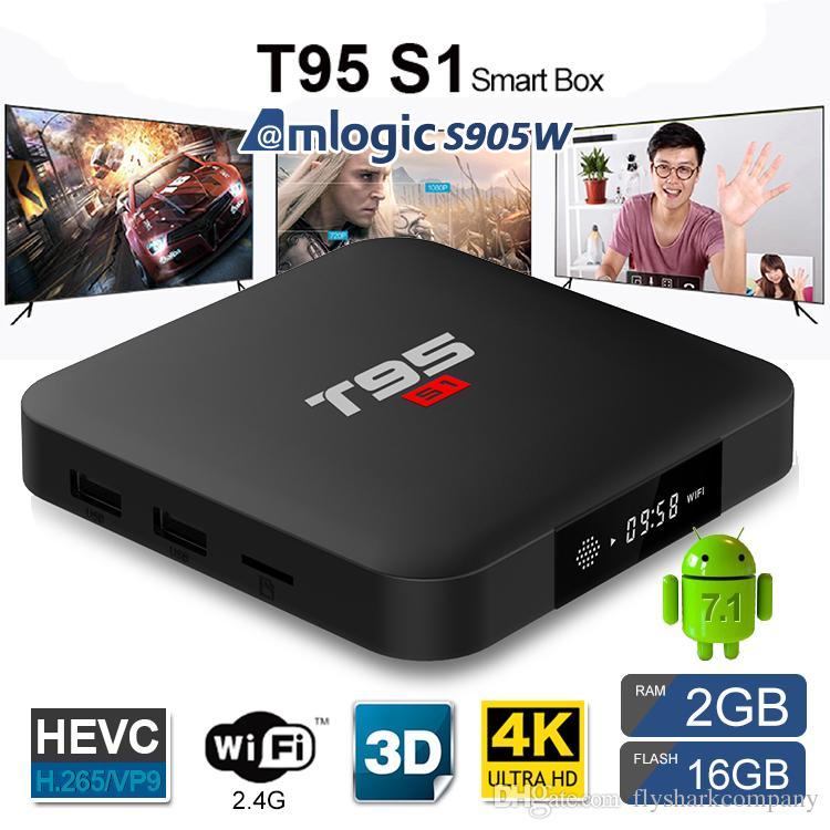 New T95 S1 4K Ultra HD 3D 64Bit Wifi Android 7.1 Quad Core Smart TV Box 2+16G US