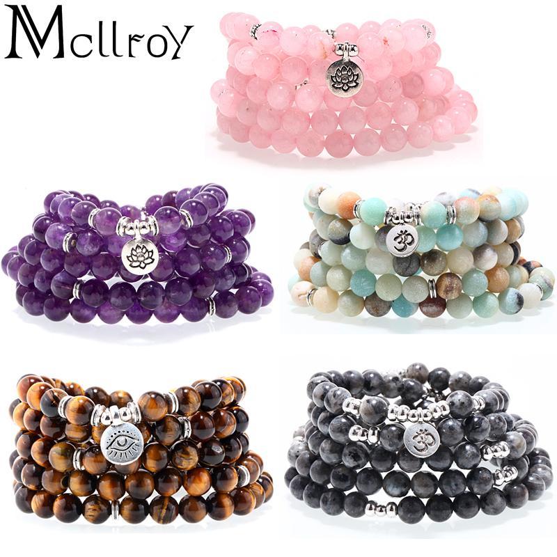 Mcllroy senior cristal Natural Pulseira De Pedra Natural 108 Mala Yoga Colar de Jóias Amazonite Fosco Venda Quente pulseira mulheres 2018 S915