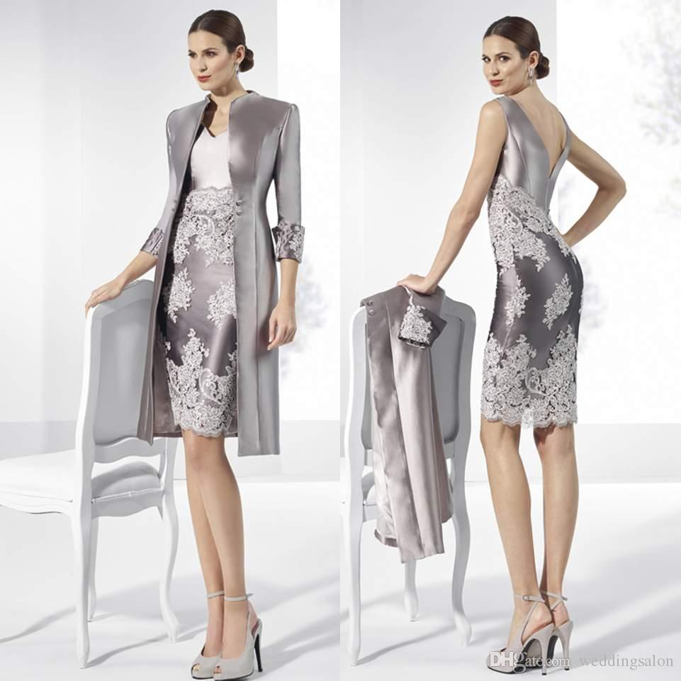 High Quality Sheath Lace Mother of the Bride Dresses V Neck With Long Sleeves Jackets Wedding Guest Dress Knee Length Taffeta Formal Gowns