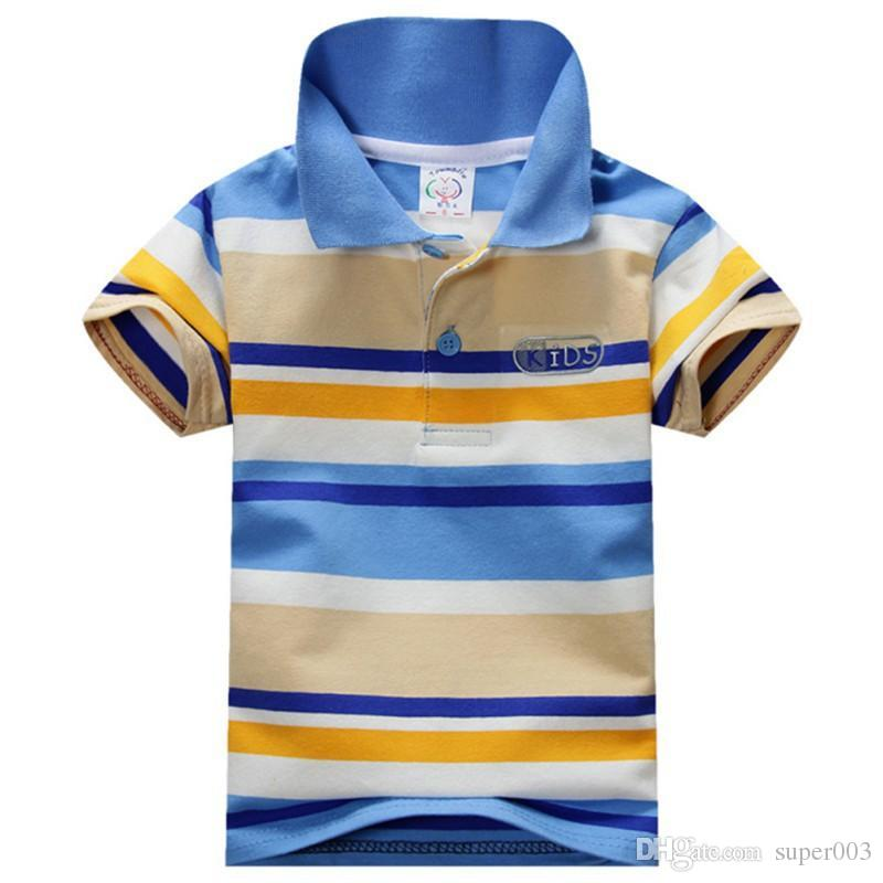 2018 Sommer 1-7Y Kind Baby Boy Stehkragen gestreiften T-Shirt Casual Kids Tops T-Shirt Polo-Shirt