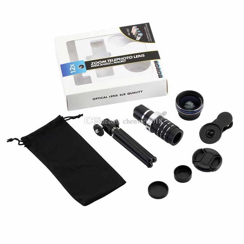 HD Telefon lensler 12x Zoom Optik Teleskobu 0.45X Geniş Açı 15X Süper Makro Lens iPhone Samsung akıllı telefonlar Klip Kamera Lensler kiti