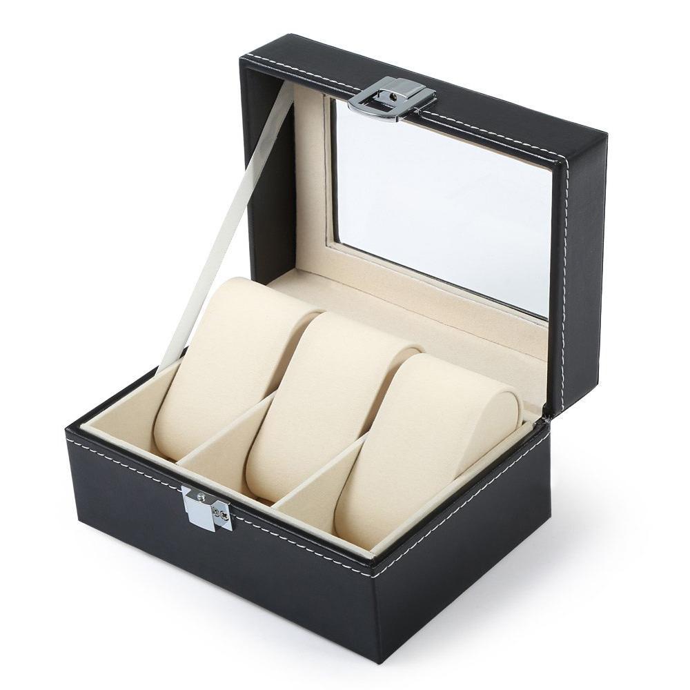 3 rejillas de cuero negro caja de reloj caja de presentación de la joyería claraboya reloj transparente