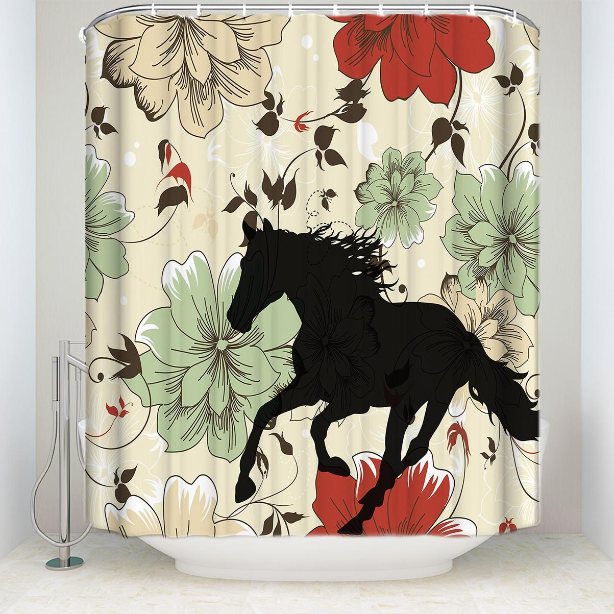 2019 Waterproof Colorful Flowers With Horse Silhouette Shower Curtain With Hooks Polyester Fabric Bathroom Curtains For Home Decor From Waxer 30 27