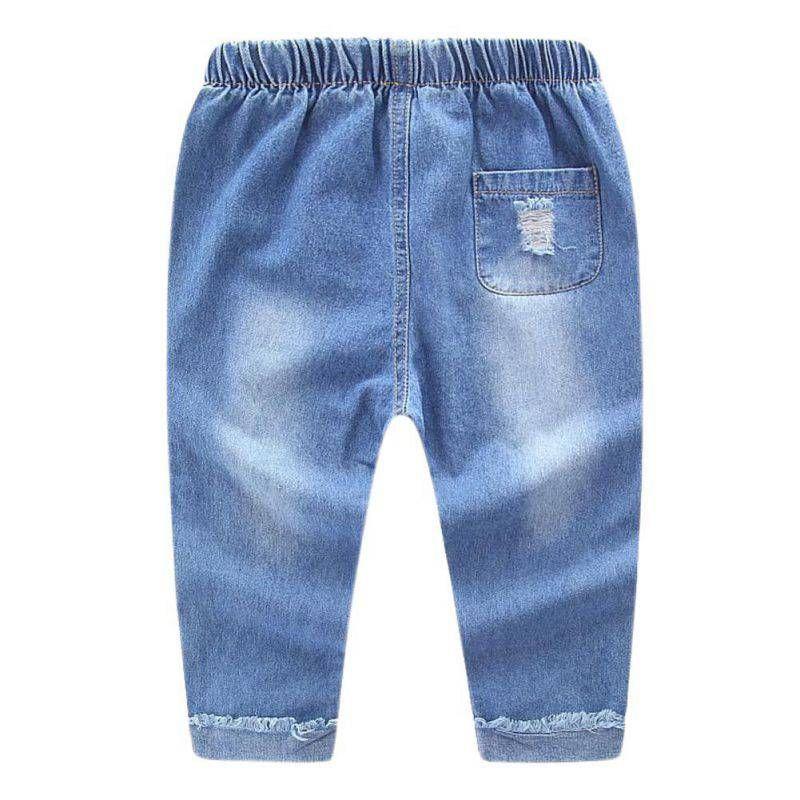 2017 Spring Autumn Baby Boys Girls Jeans Kids Broken Denim Pants Toddler Girls Pants Children Dark/Light Blue Clothes For 2-7T