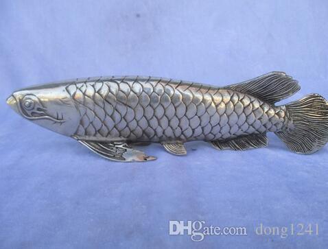 Estátua de peixe de prata tibetana / Lucky Fish Sculpture, Long 10 inch