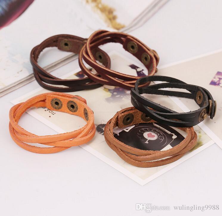 Braccialetti multistrato in pelle di modo in pelle Braccialetti a scatto Braccialetto da polso per braccialetti per donna uomo Infinity Bracciale