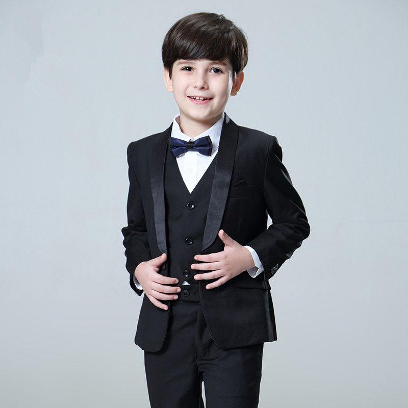 Erkek beyefendi takım elbise üç parçalı takım (ceket + pantolon + yelek) erkek düz renk ince elbise çocuk top parti elbise destek özel