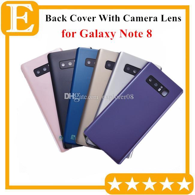 Batterie-Tür-Glasdeckel Gehäuse mit Kameraobjektiv + anhaftenden Aufkleber installierte für Samsung Galaxy Note 8 N950 Ersatzteile 10PCS