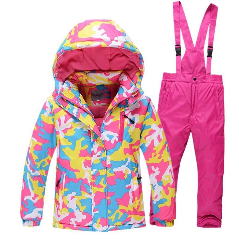 -30 الأطفال بدلة تزلج في الهواء الطلق Gilr / Boy snowboard دثار الشتاء الدافئ للماء سترة + السراويل مناسبة لمدة 4-14 سنة