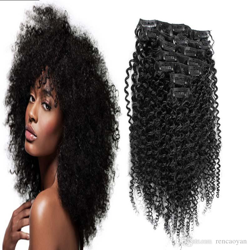 mongol kinky grampo de cabelo encaracolado em 8 pcs clipe em extensões de cabelo humano grampo de cabelo humano 100G em extensões