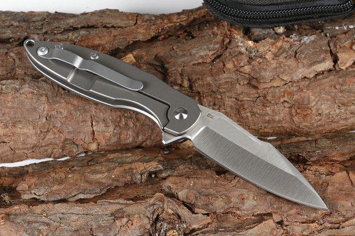 Распродажа! Серый Flipper Складной нож D2 сатин лезвия TC4 титанового сплава ручки Открытый кемпинга Походные EDC Карманные ножи Инструменты