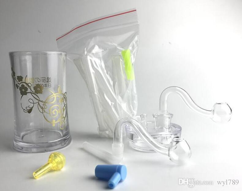 Neue 4,5 Zoll Kunststoff Ölbrenner Bong Wasserpfeifen mit 10mm Männlichen Dicke Pyrex Glas Ölbrenner Rohr Silikonschlauch