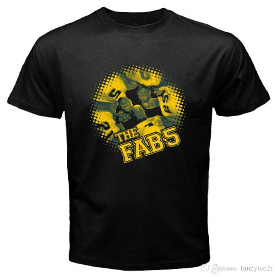 New Michigan Fab Five Basketball Fans  Men/'s Black T-Shirt Size S to 3XL