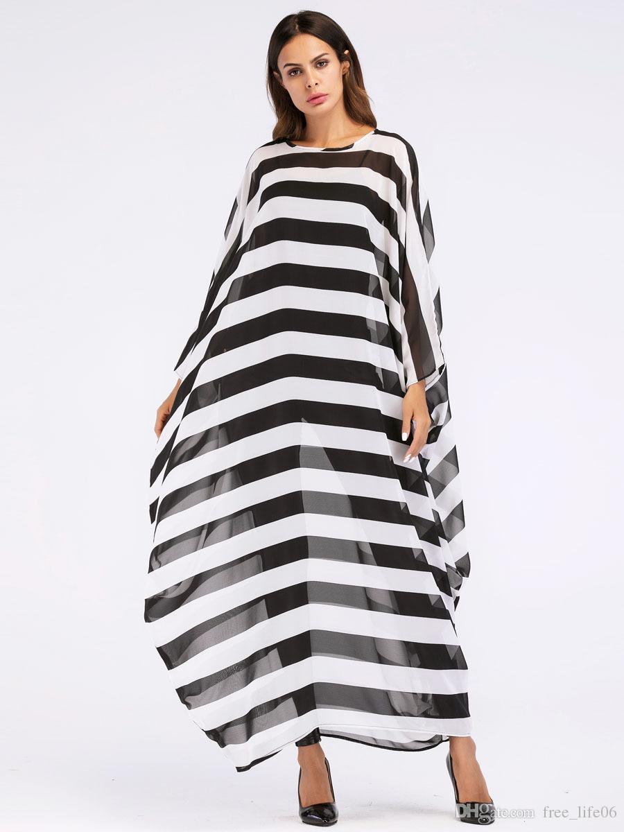 b7269a3b97049f4 ... негабаритных макси длинное платье Лето 2018 женская мода черный белый  полоса халаты перспектива шифон туники евро ...