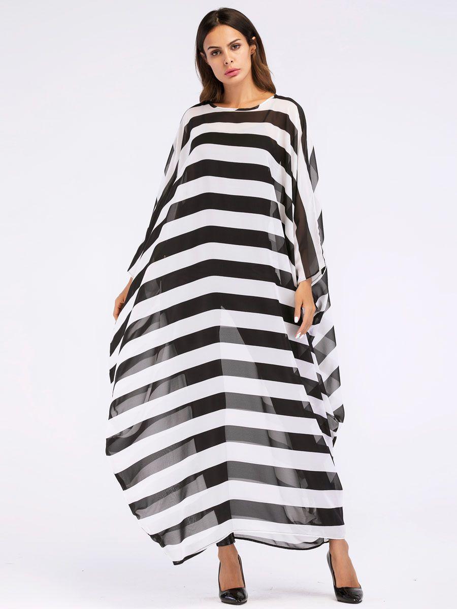 großhandel oversized maxi langes kleid sommer 2018 mode frauen schwarz weiß  streifen morgenmäntel perspektive chiffon tuniken euro von free_life06,