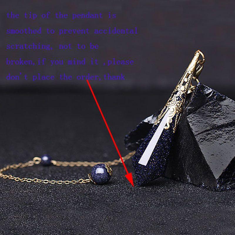 1pc scintillante blu arenaria pendente amuleto pendente a punta singola collana gioielli bronzo antico rame cauzione catena con perline di pietra sabbia