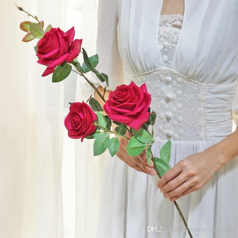 Real toque Art flor rosa Silk Craft Flor Flor falsa Decoração de casamento Início Decorartificial flores de noiva noiva buquê de casamento