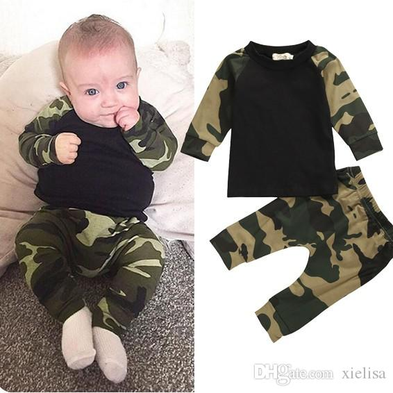 Bebé recién nacido ropa de 2020 del otoño del resorte muchachas de los bebés camuflaje camiseta + pantalones niño infantil fijaron el equipo
