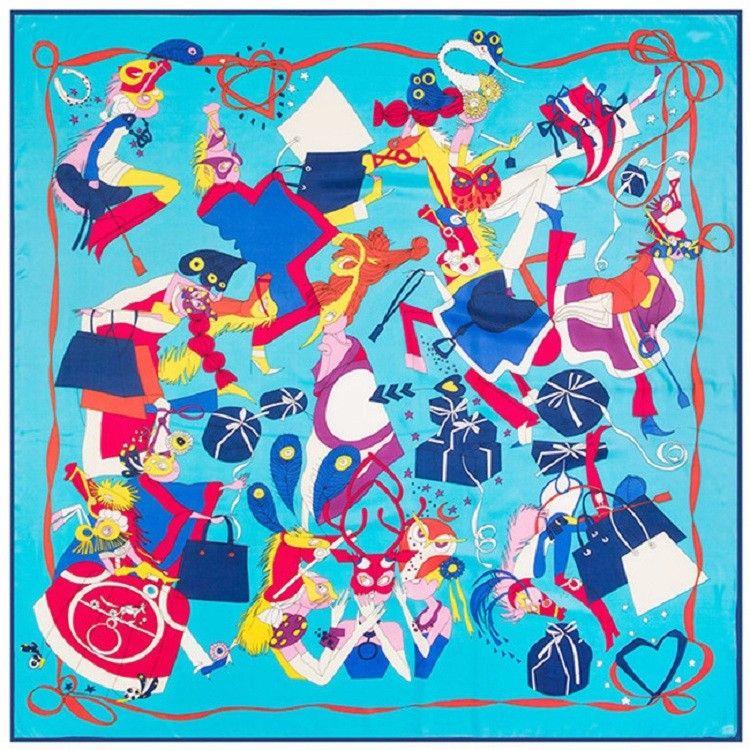 Neue Twill Seidenschal Frauen Cartoon Druck Quadrat Schals Mode Wrap Weiblichen Foulard Große Hijab Schal Halstuch 130 * 130 CM