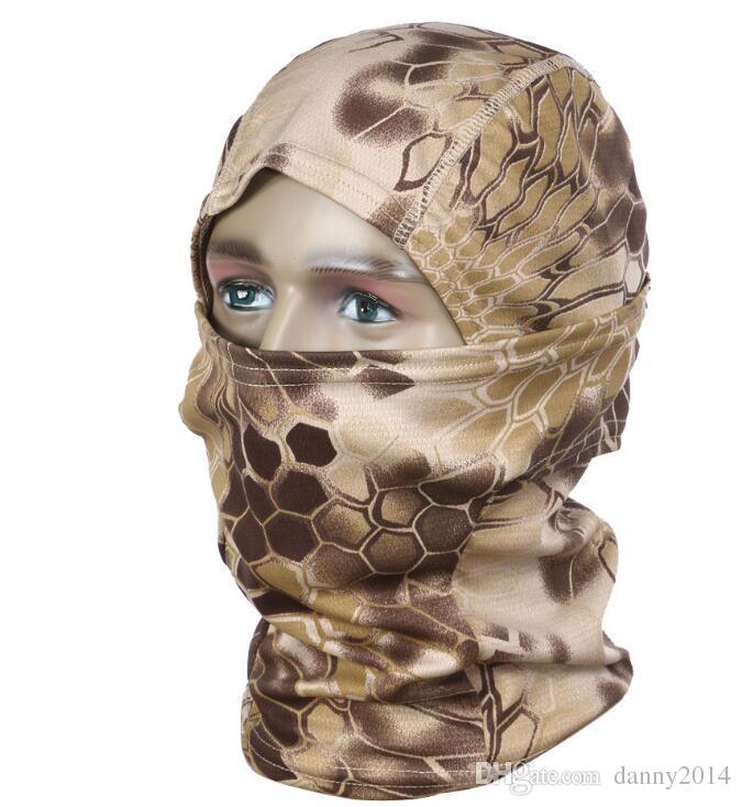 Baş Airsoft spor Taktik Balaclava Kamuflaj Avcılık Paintball Sürme Tam Yüz koruma Maskesi açık kamp Anti UV yaz maskeleri