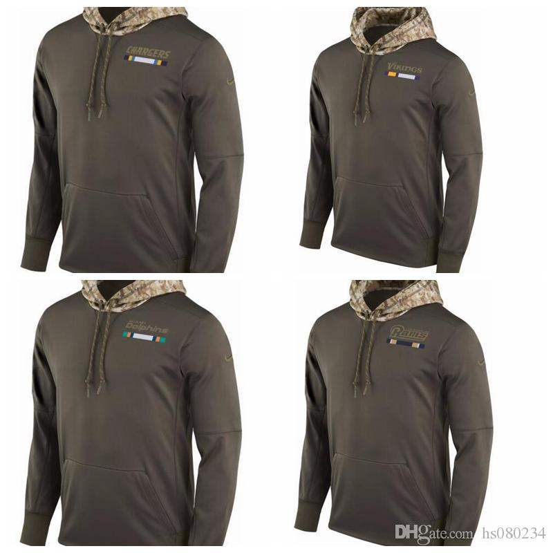 separation shoes 059a0 46641 2018 Men'S Minnesota Vikings Miami Dolphins Los Angeles Rams Los Angeles  Chargers Salute To Service 2017 Therma Fit Performance Hoodie From  Hs080234, ...