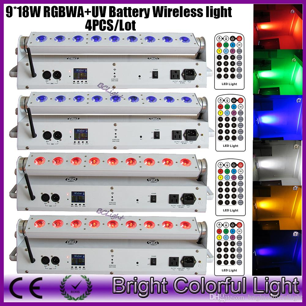 4XLOT 2016 new led battery powered wireless dmx led wash lighting for events with IR controller 9*18W RGBWA UV uplights