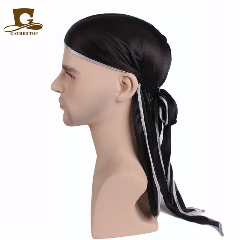 Unisex Men Women Satin Breathable Bandana Hat   Rag Long Tail Headwrap