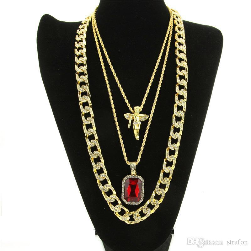 Micro Angel, piedra roja, cadena de eslabones cubanos 3 collar conjunto chapado en oro collar de la joyería Hip Hop collar para hombres mujeres KKA1839