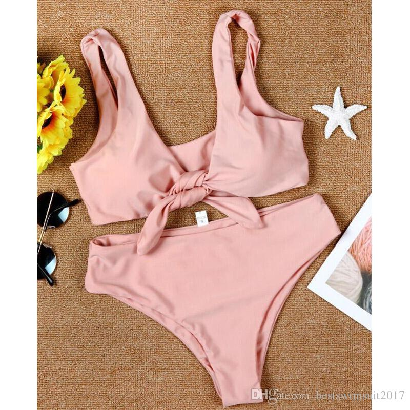 Beachwear Woman 2018 Sexy Cheap Pink Biquinis Bikinis Push up Bra Swimwear Woman Beach Swimsuit Maillot de Bain Femme Swim Wear Bathing Suit