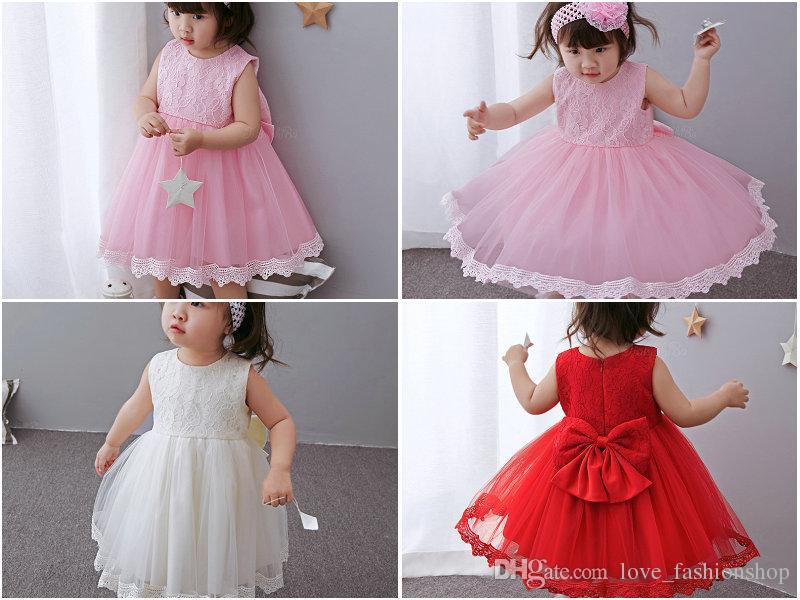 Retail Kerstmis Baby Meisjes Grote Boog Kant Prinses Doop Jurken Kids Birthday Gift Month Doop Doop Jurk Halloween Kostuums