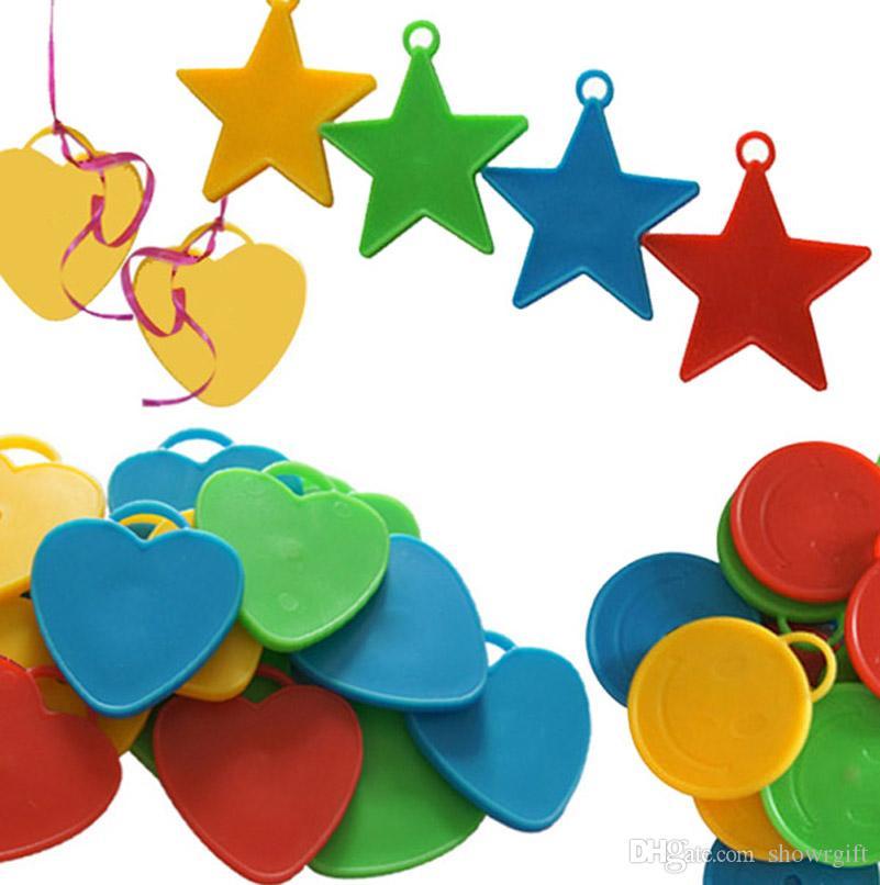 Ballon Gewichte Helium ballon Anhänger Hochzeitsdekoration Geburtstag Partei liefert Stern / Herz / Kreisform Optionen 50 PC / Losgroßverkauf