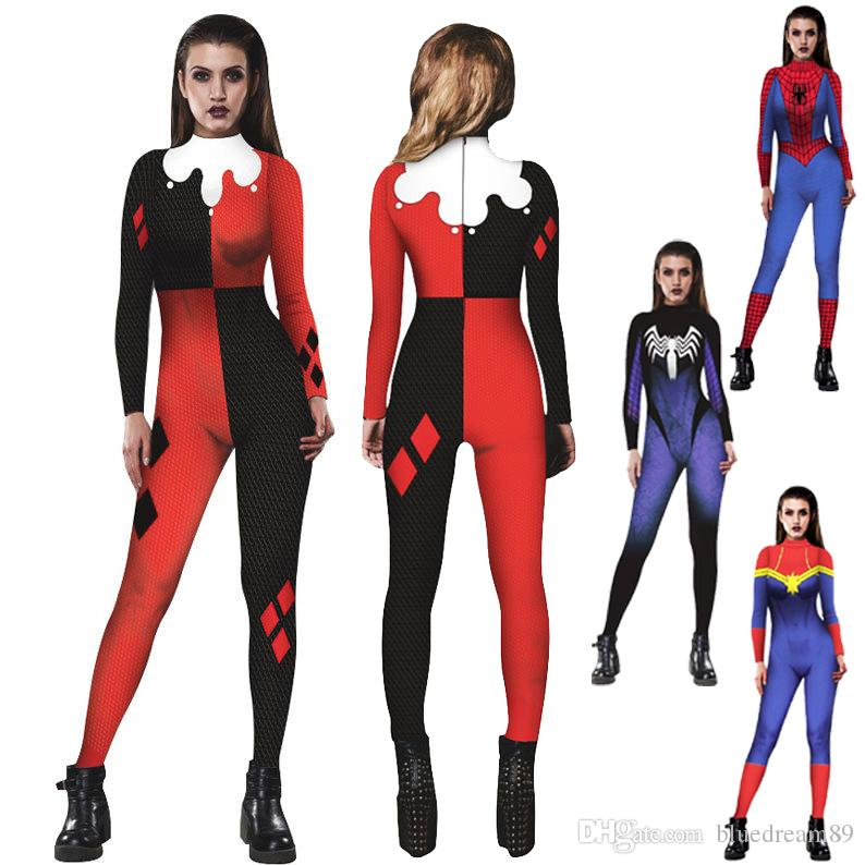 Female Halloween Costumes Clown Venom Spiderman Amazed Lady Cosplay Costume  Women Jumpsuit Tights Costumi Di Halloween Costume 80s Halloween Costume