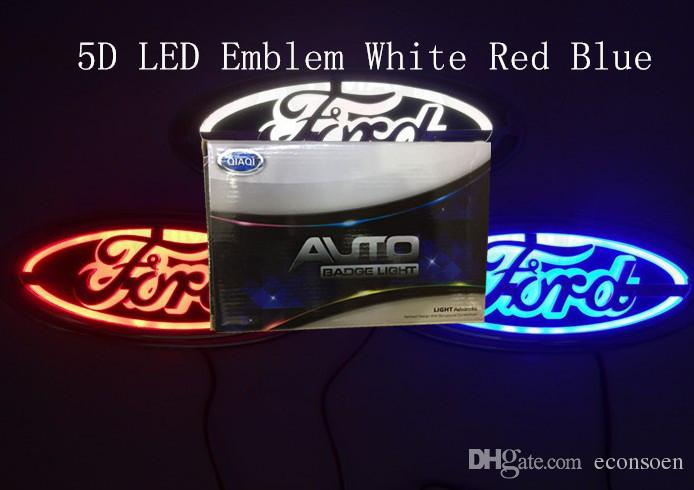Ford boyutu 145x65mm için 5D araba led amblem araba led rozeti araba led semboller logosu arka ampul beyaz mavi kırmızı